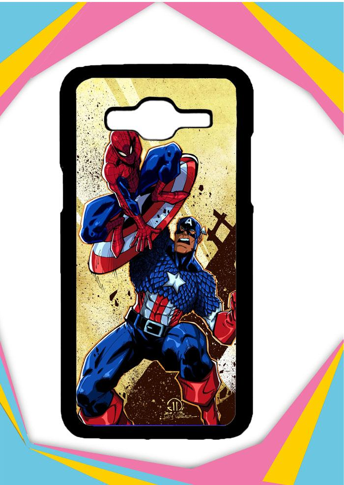 Casing Samsung Galaxy J2 2016 Custom Hardcase captain america vs spiderman Z0492 Case Cover