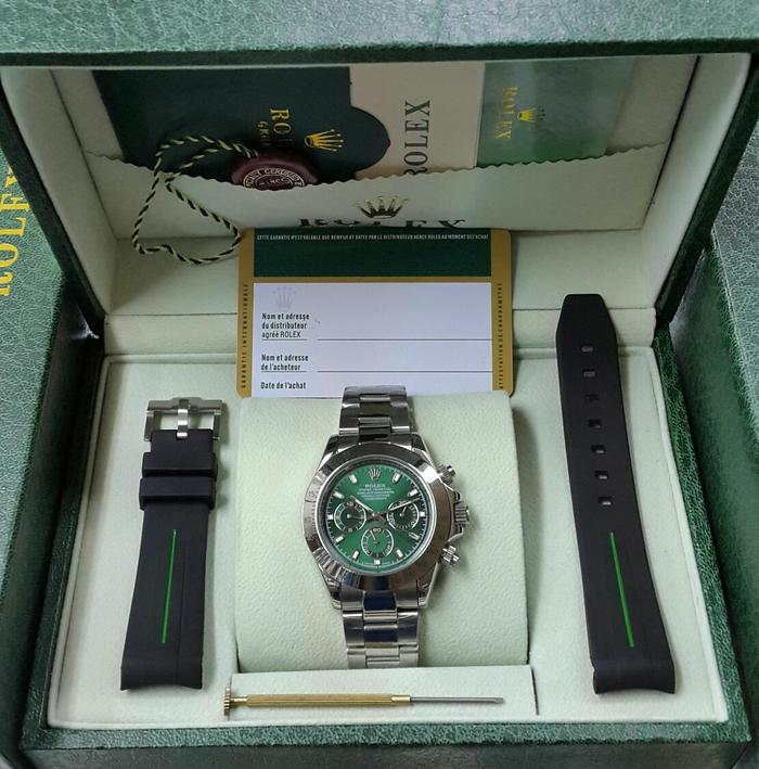 Jam Tangan Rolex Daytona Automatic Silver Green Dial