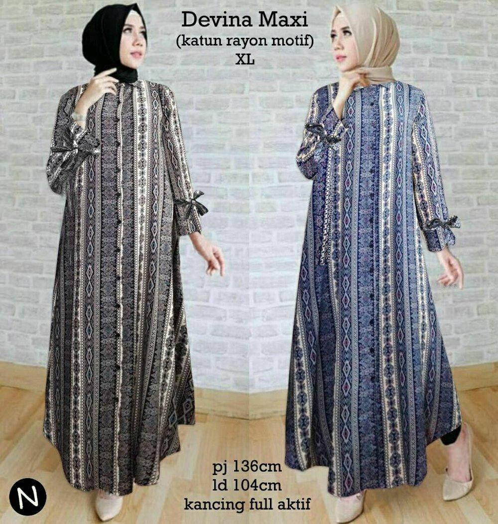 Cn 8058 Devina Maxi Dress Terusan Batik Etnik Songket Stripe Garis Wanita Murah Gamis Syari Simple Elegan Hijab Muslim Modis Modern Hitam Biru Busui