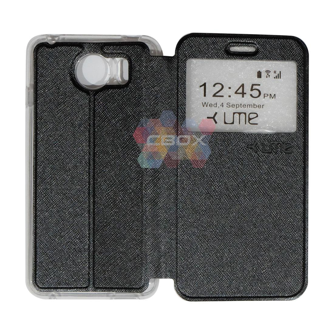 Ume Flipshell Leather Phone Himax M1 Sarung Case / Flipshell Ume Himax M1 / Flipcover Ume Himax M1 / Leather Case Ume Himax M1 / Sarung HP Himax M1 / Flipshell Himax M1 / Flipcover Himax M1 / Casing Himax M1 - Hitam