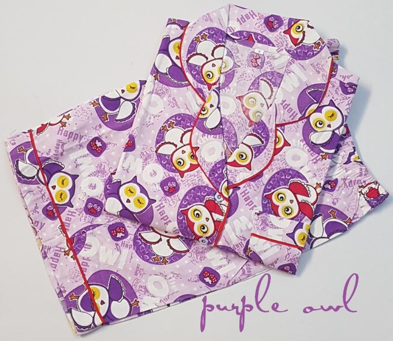 Baju Tidur Wanita Owl lengan pendek celana pendek