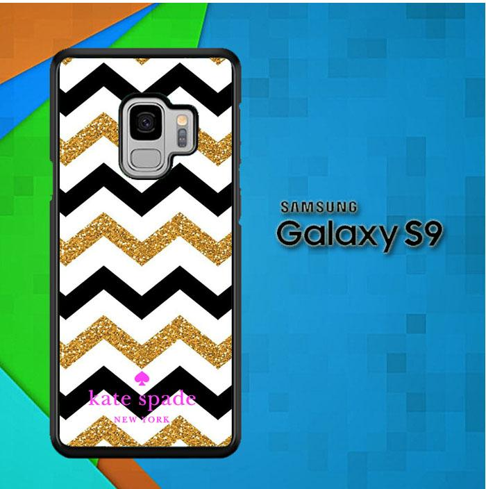 Casing Samsung Galaxy S9 Custom Hardcase chevron gold logo kate spade Z4902 Case Cover