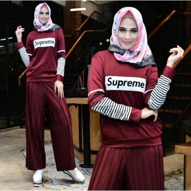 Damai fashion - setelan hijab wanita Halimah salur supreme - baju murah konveksi tanah abang