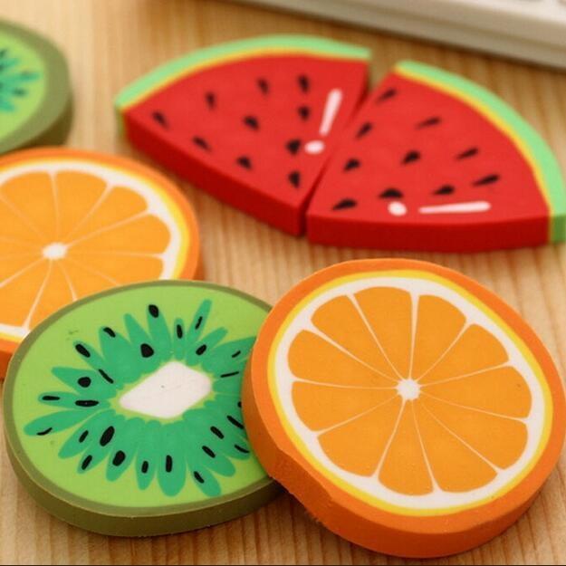 Mua 3pcs Cute Fresh Fruit Design Eraser Kawaii Watermelon Orange Kiwifruit Erasers Students Gift Prize Office School Supplies - intl