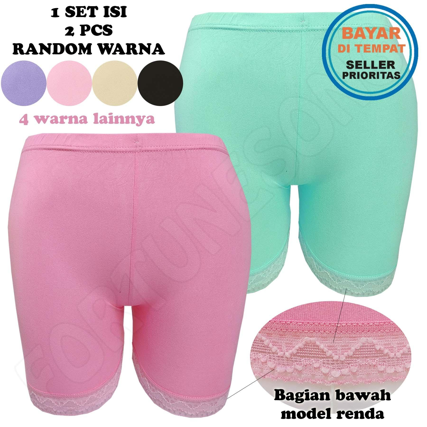 Fs'Fashion - 2 Pcs Celana Dalam Wanita Legging Pendek Renda Aneka Warna