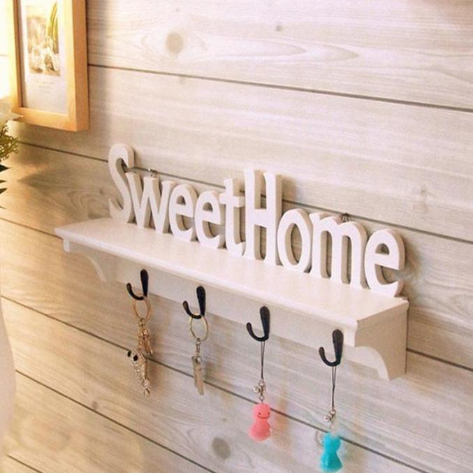 Rak dinding vintage SWEETHOME (Lengkap 4buah hook gantungan )
