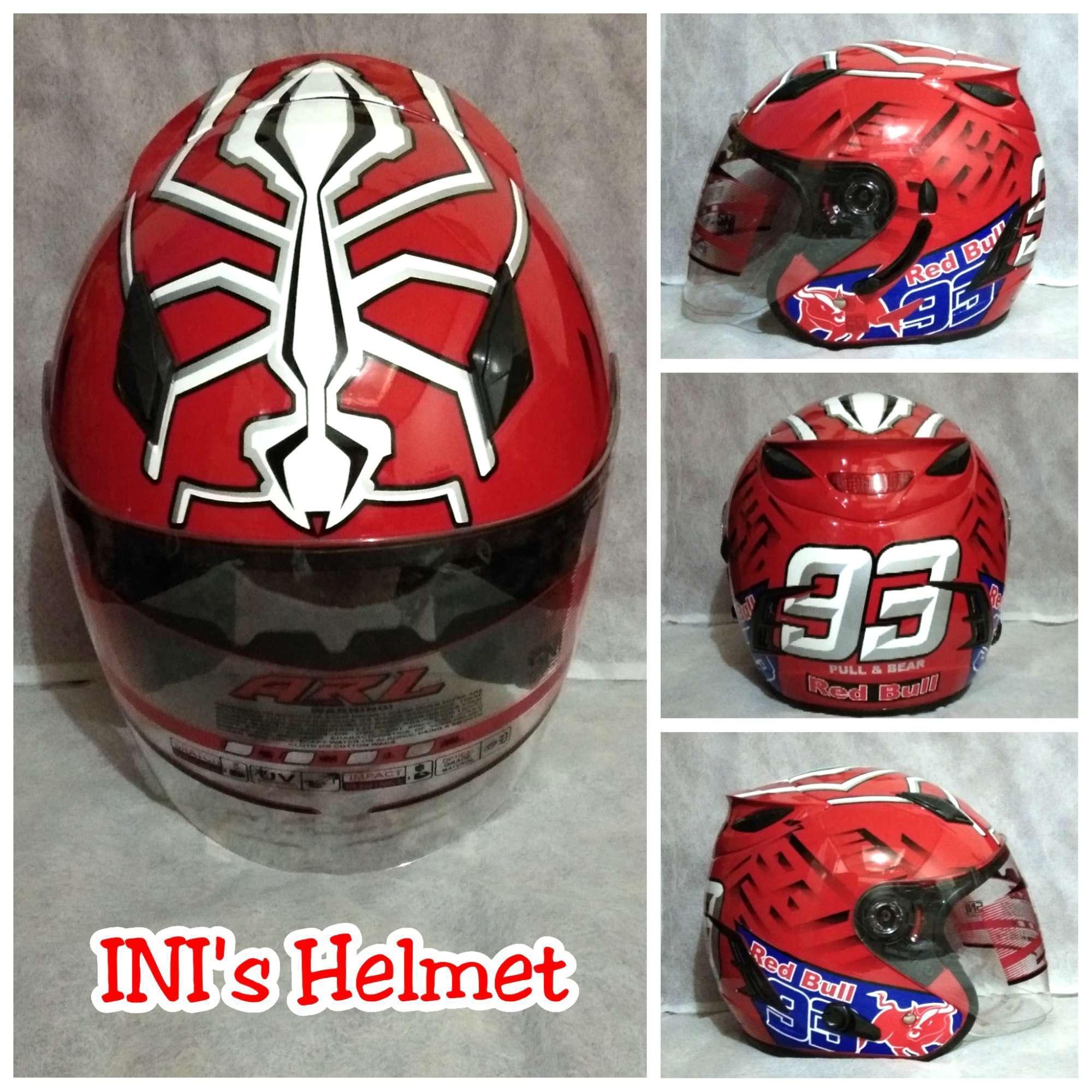 Helm Double Visor (2 Kaca) ARL Motif Merah - Helm SNI
