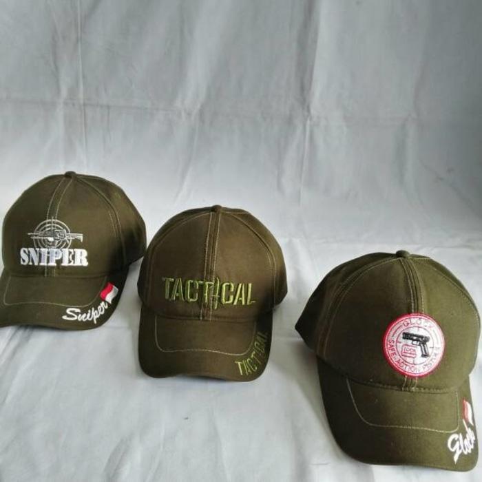 tactical,sniper,glock cap green army/topi lapangan bordir kanvas Terlaris di Lazada