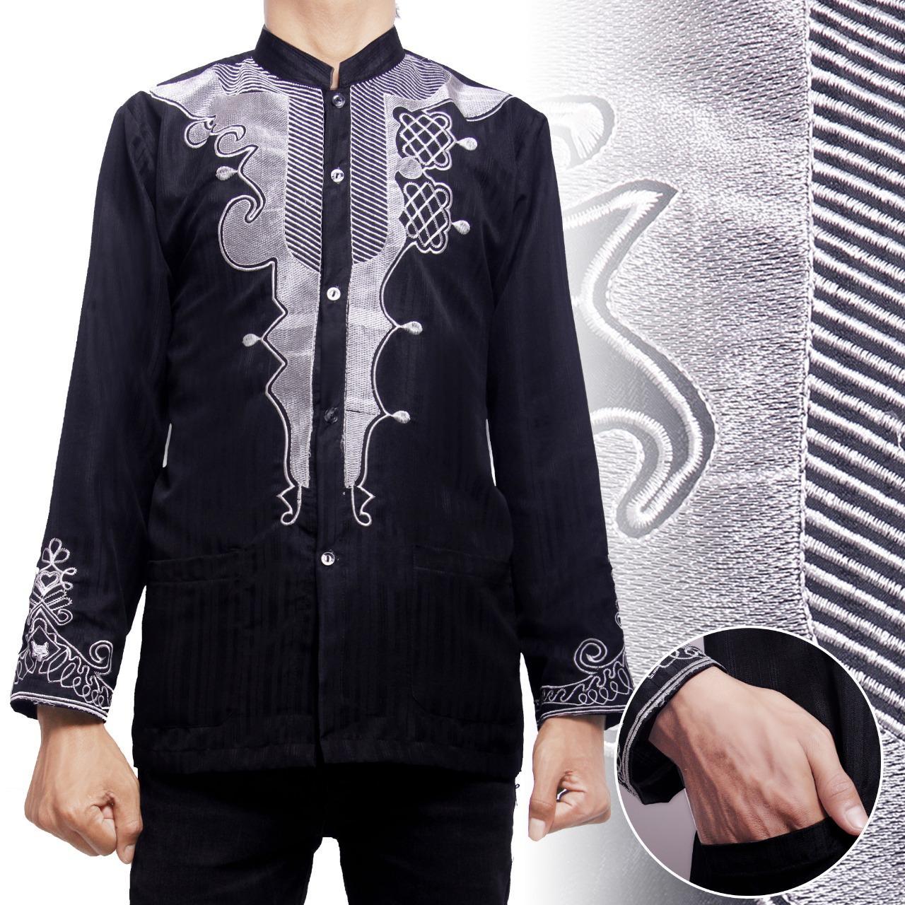 SB Collection Atasan Kemeja Koko Black Panther Baju Muslim Batik Lengan Panjang Pria