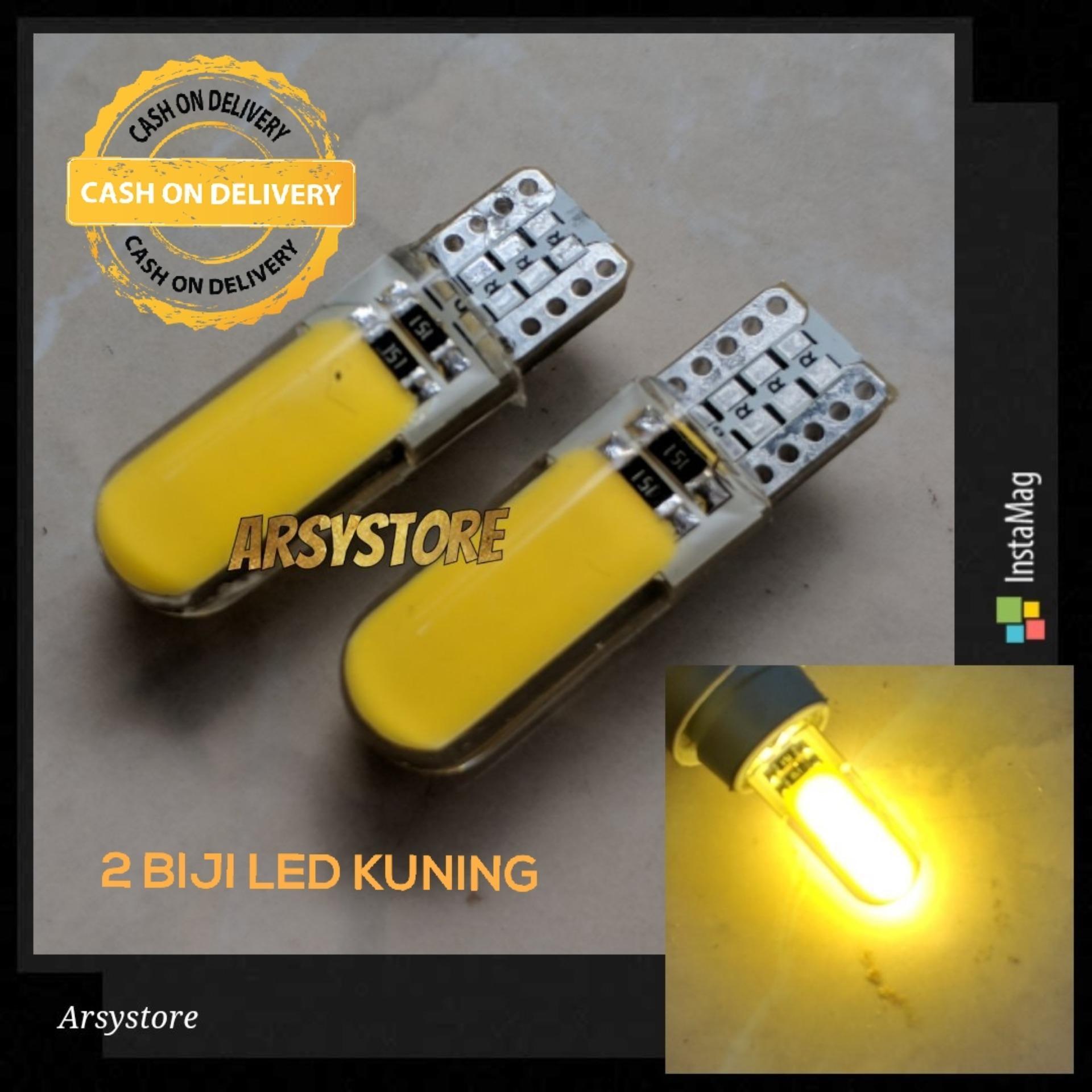 2 Biji Lampu LED T10 COB PLASMA SILICON Jelly METAL Soket Senja Sein Plat nomor mundur 12V Mobil Motor ARSYSTORE - KUNING