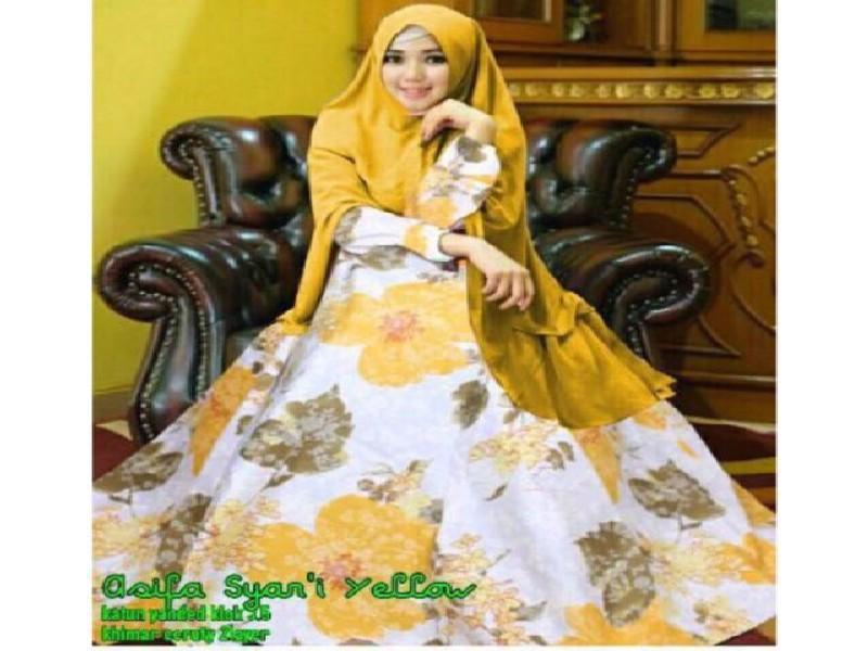 Asifa Gamis Syari Busana Muslim Gold Dengan Khimar