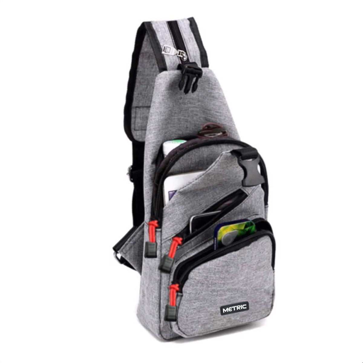 Metric Tas Sling Bag Tas Waistbag Tas Selempang Tas Ransel Tali Satu Tas Sling Bag Korea Kode Artikel Mi004 Size 10 Inchi Korean Design - Light Grey