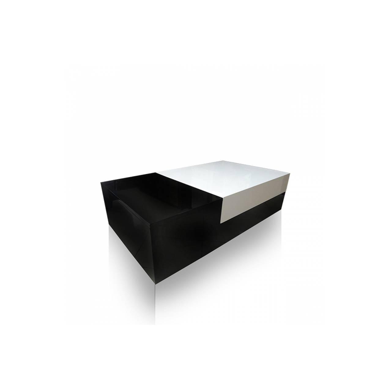Meja Tamu Persegi Panjang Multiplek IP 02 - Putih Kombinasi Hitam