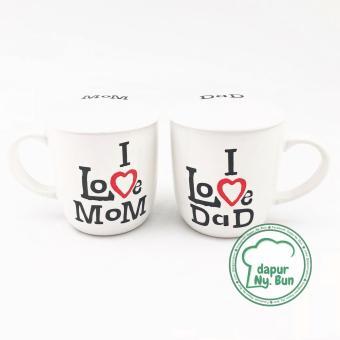 Price Checker KOPIN - Mug Couple + Tutup I Love Dad / I Love Mom pencari harga - Hanya Rp61.560