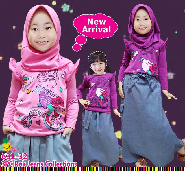 New  Baju Setelan Muslim Anak Perempuan Little Pineapple Sepeda Celana Rok