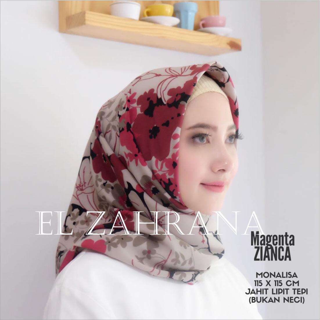 El Zahrana Hijab - Kerudung Segi Empat - Jilbab Motif Premium - Hijab Segi Empat - Jilbab Segi Empat -  Monalisa