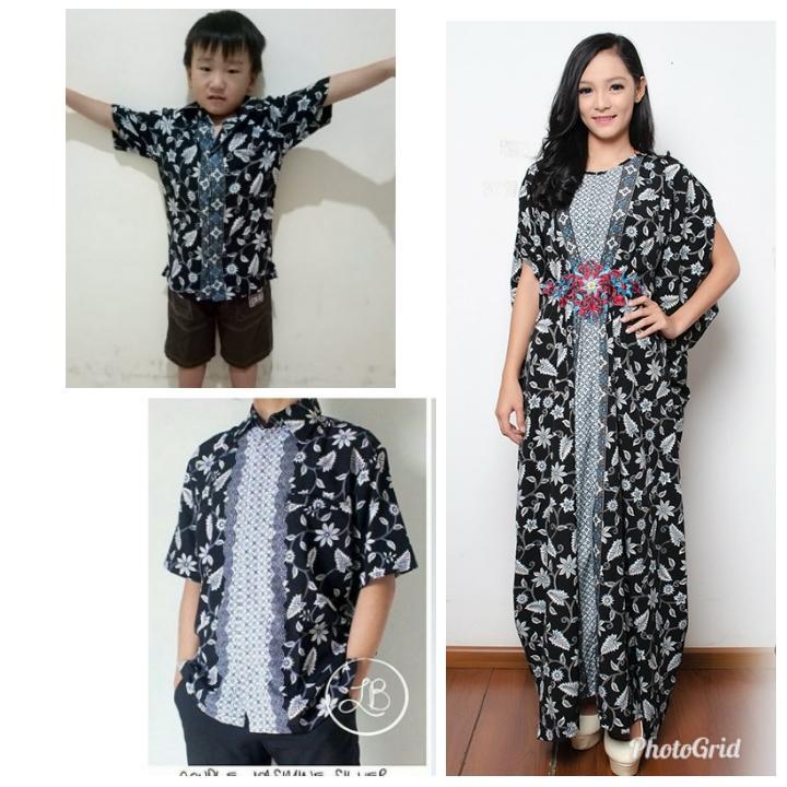 168 Collection Couple Family Dfiela Gamis Kaftan Longdress Maxi Jumbo Dan Kemeja Batik Ayah Anak