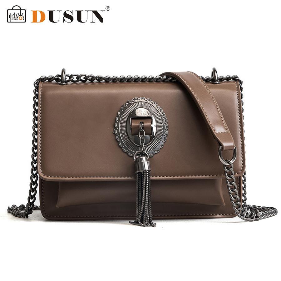 DUSUN 2018 Chains Messenger Bags Women Vintage Shoulder Bags Ladies Brand Designer Crossbody Bag Woman Pu Leather Bolsa Feminina - intl