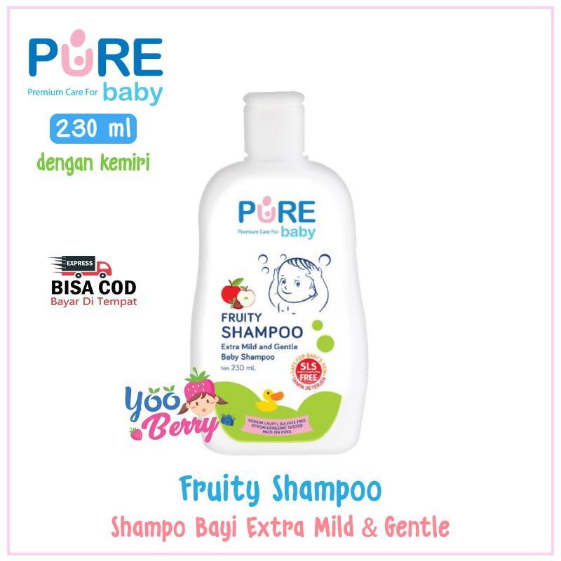 Pure Baby Shampoo Freshy & Fruity / Shampo Bayi & Anak dengan Ekstrak Kemiri Hypoallergenic 230 ml YooBerry