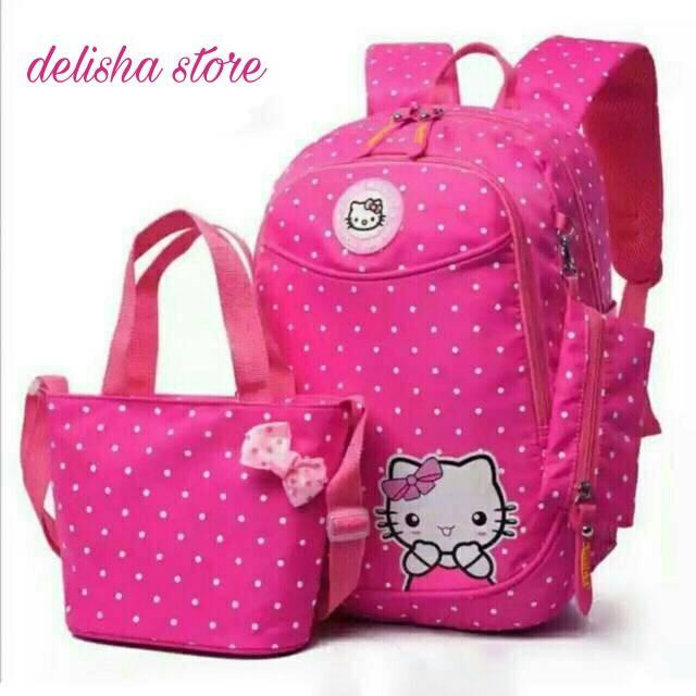DS Ransel Anak Sekolah Hello Kitty Pink Lucu