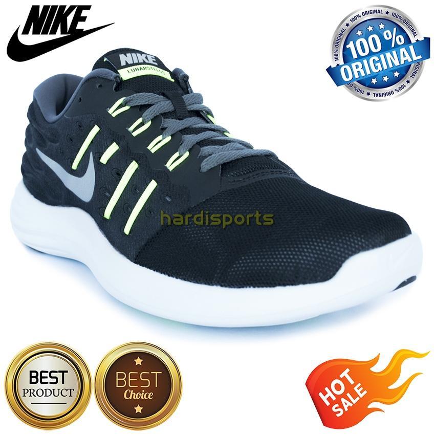 Sepatu Running Pria Nike Lunarstelos 844591-006 - Black Silver
