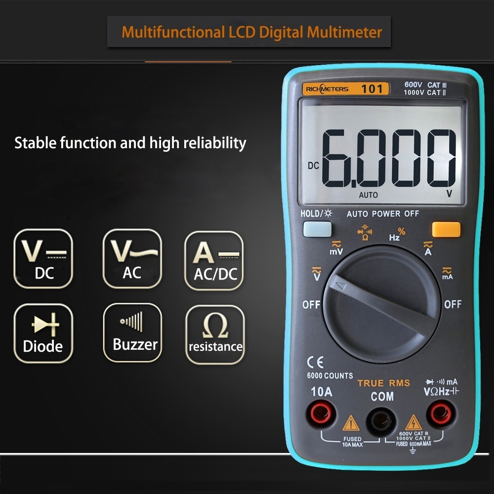 Automatic Range Digital Multimeter Contactless Voltage Meter Hz Getar Dan Lampu Latar Lcd 6000 Portable Multi Tester