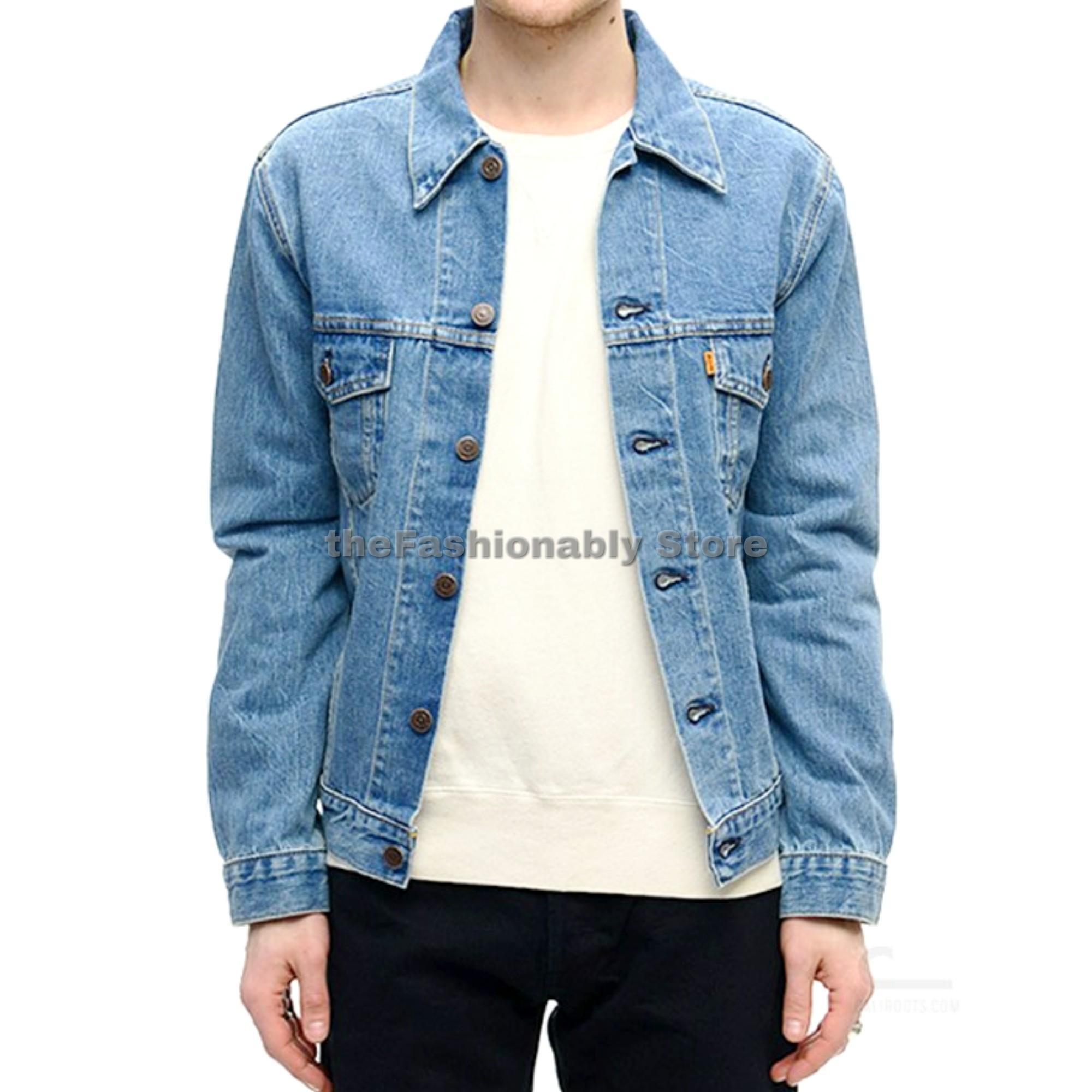 BIG SIZE Jaket Jeans Denim Biru Muda Pria - Premium Quality