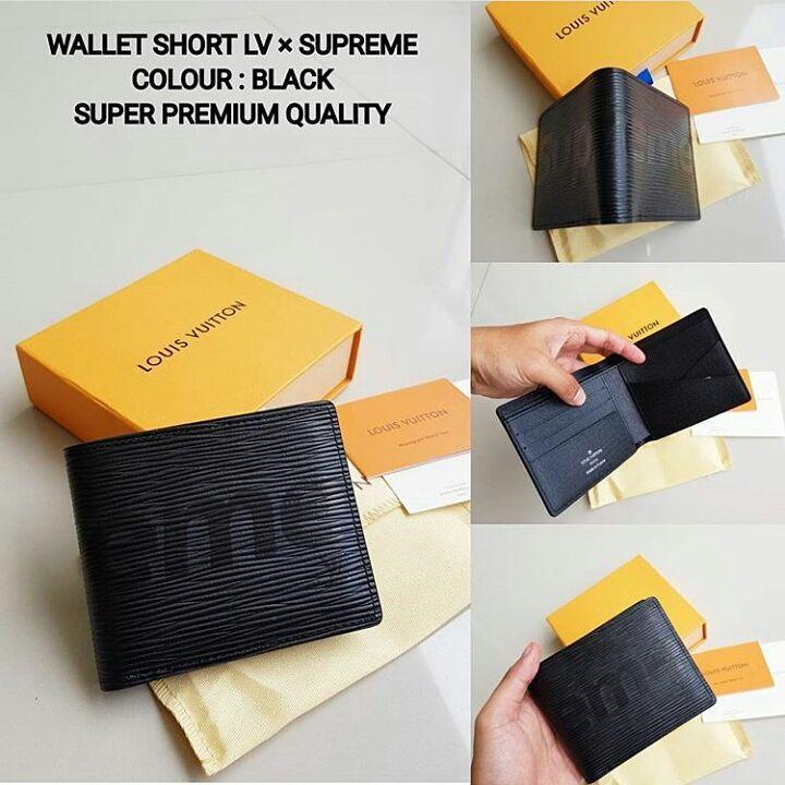 dompet wallet short Louise Vuitton damier x supreme full black