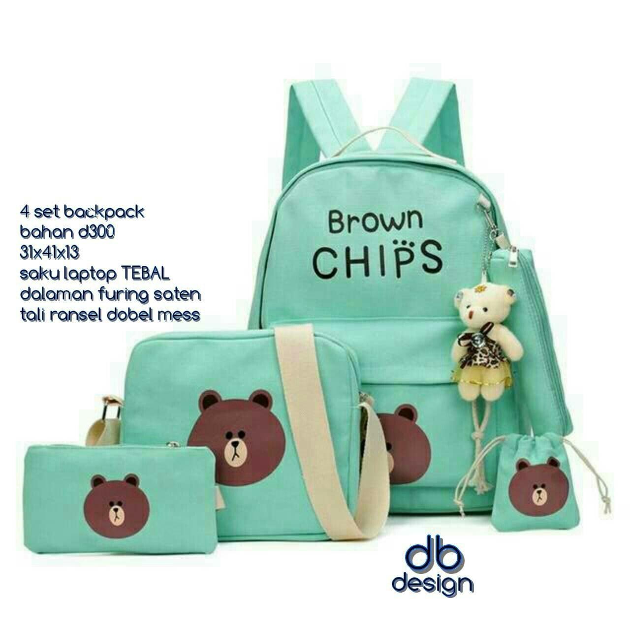 Jual PROMO Tas Ransel Punggung Sekolah Anak / Wanita Brown Chips 4in1 Tosca Promo