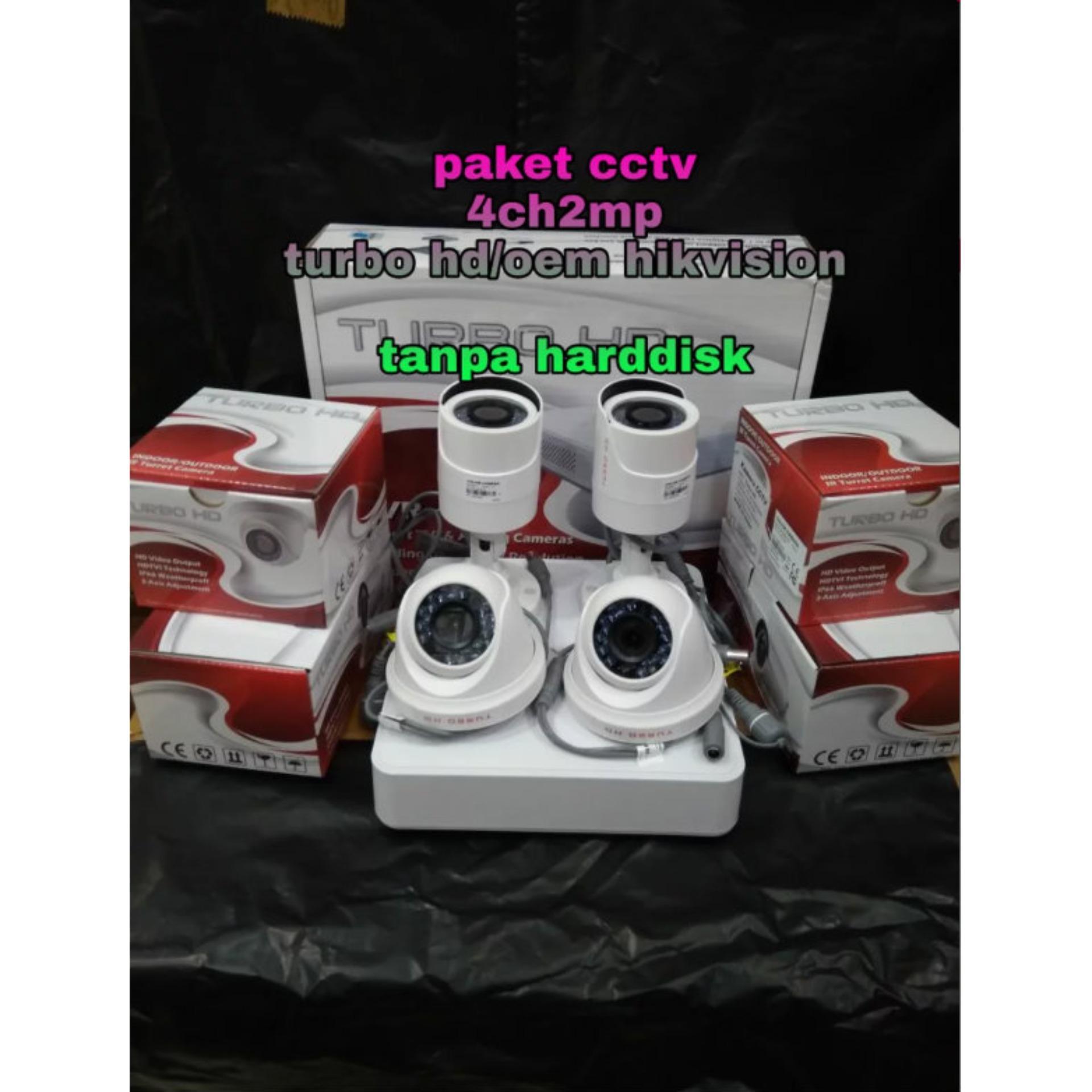 Paket Kamera Cctv 4ch2mp Full Hd 1080p Turbo Hd Tanpa Hdd