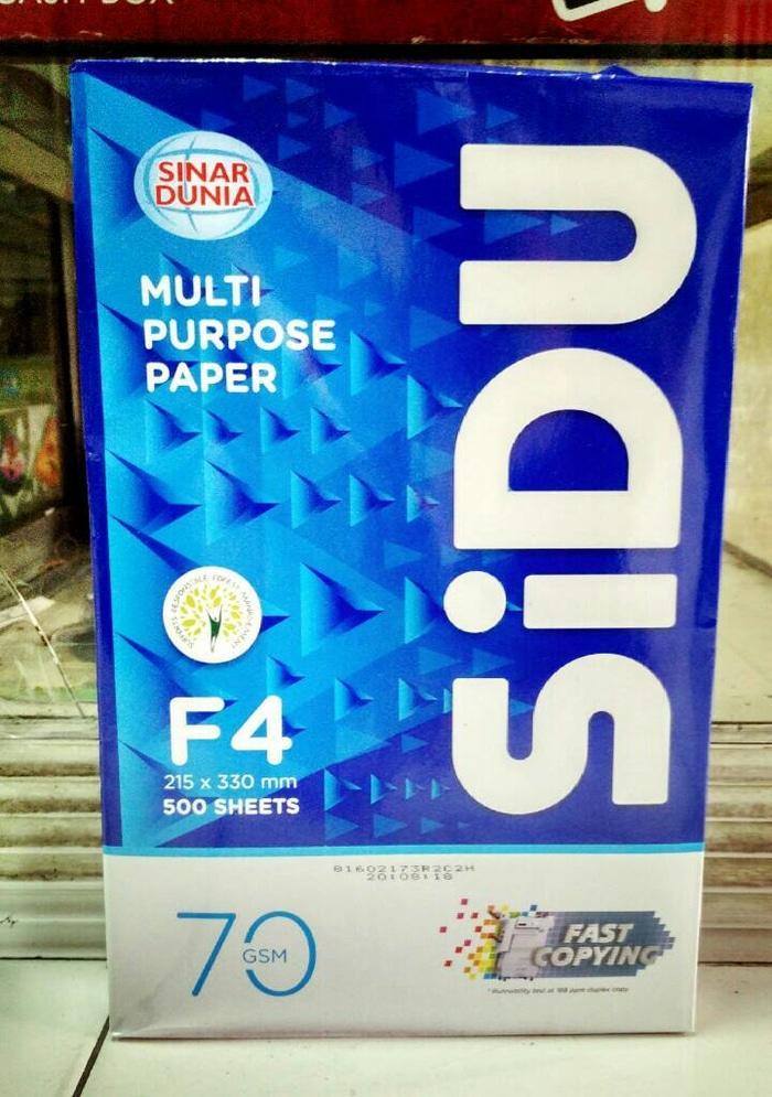 Sinar Dunia  SiDu Kertas HVS F4  Folio 70 gsm 215 x 330 mm  1 Dus