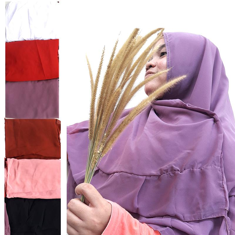 Delice Hijab Kepala Kerudung Leila Jilbab Instan Syari Khimar Polos Tanpa Pet 2 Layer Instant Langsung Pakai Women Fashion Wanita Muslim Muslimah Bahan Sifon Chiffon Pengajian Sehari-hari Penutup Pelindung Kepala Simple Adem Nyaman