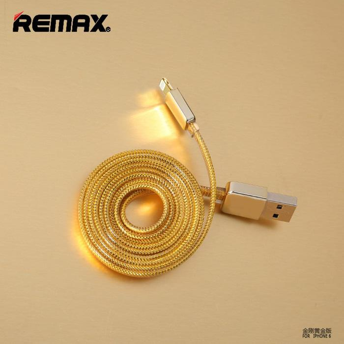 Remax Gold Braided Cable For Smartphone 100 CM - Lightning