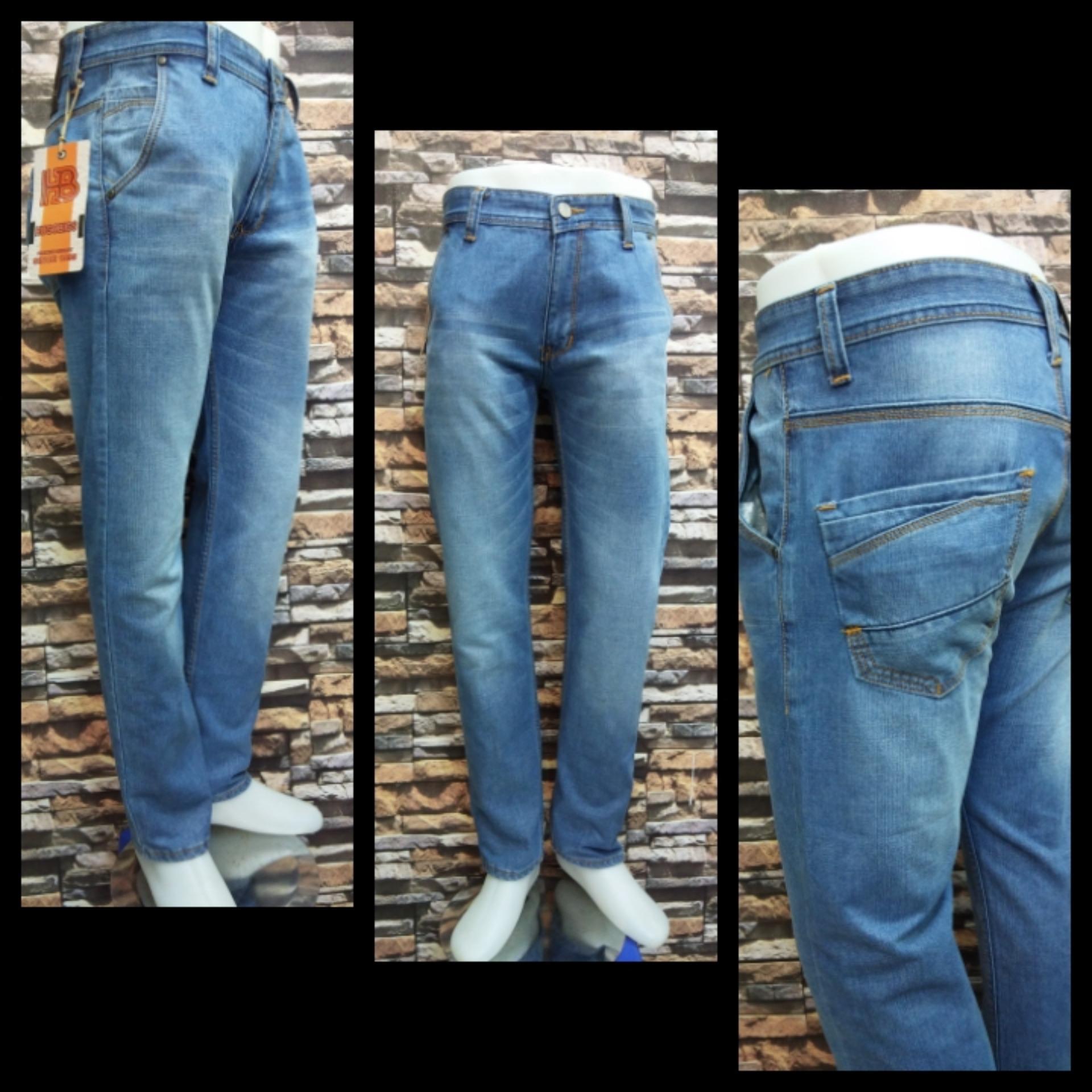 Celana jeans panjang pria regular terang