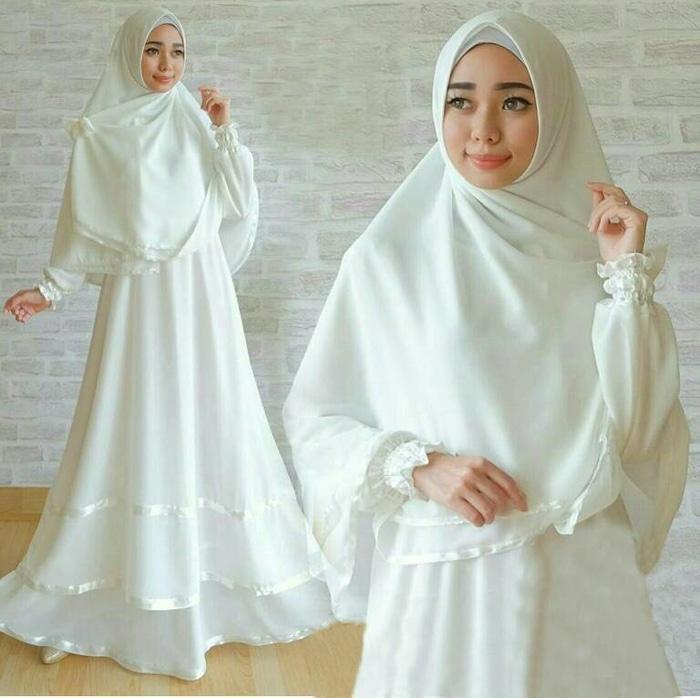 Setelan Muslim Anggun Syari White Gamis Busui Warna Putih Busana Murah