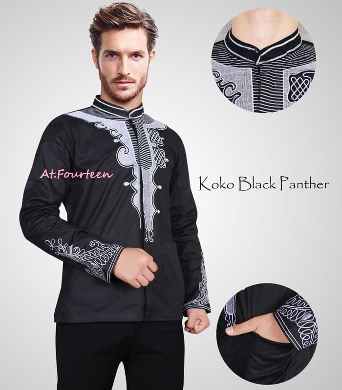 Baju koko Black Panther Marvel ready stok 2 warna baju pria kemeja pria lengan panjang WAKANDA
