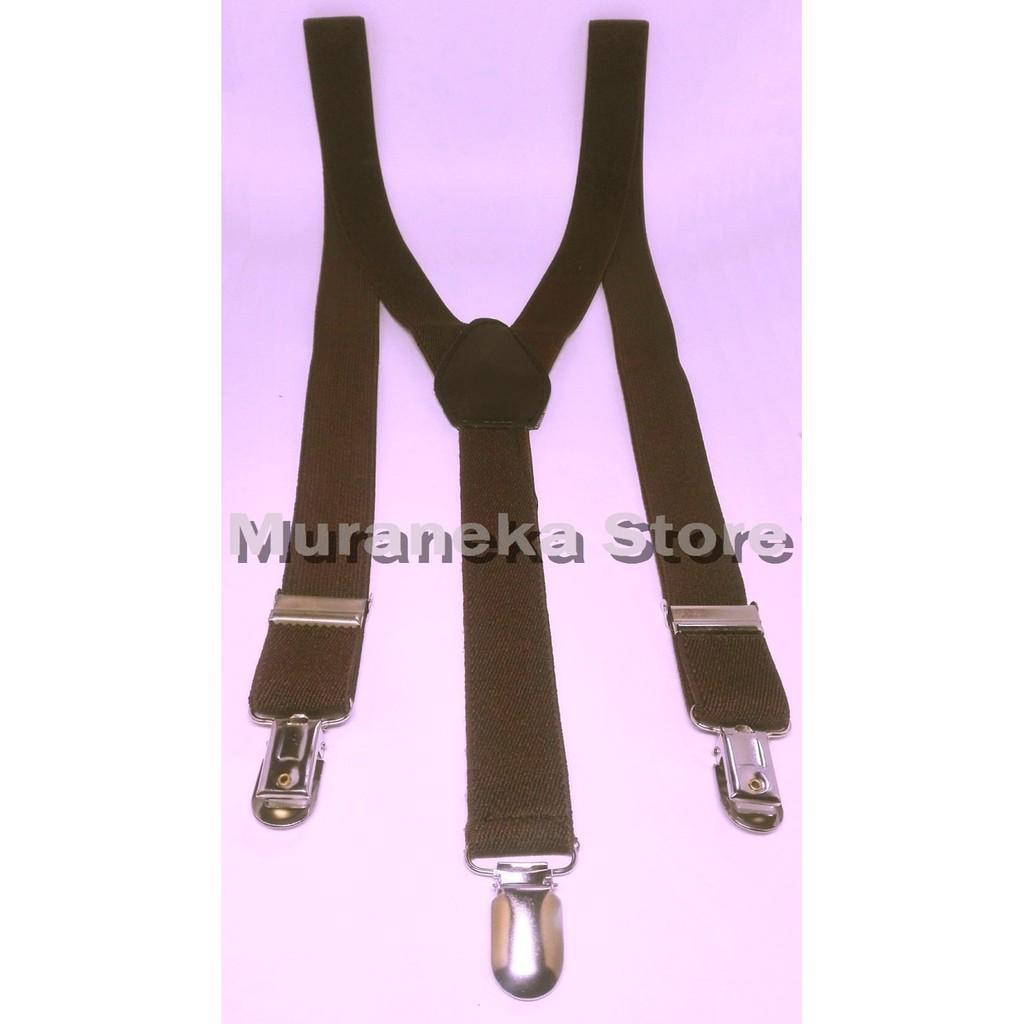 Bretel Suspender Coklat Baju Dewasa Polos Tali Kodok Jojon Jeans Denim Tali Jojon Murah Pria Kupu