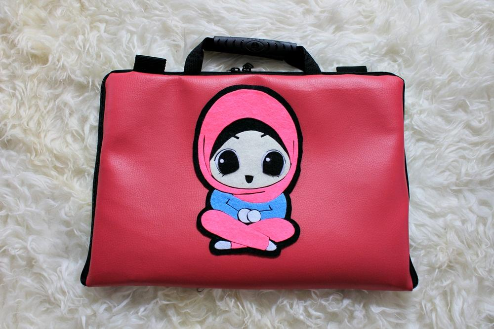 Muslimah Hijab Kulit/leather 13 - 14inchi softcase tas laptop netbook notebook lucu