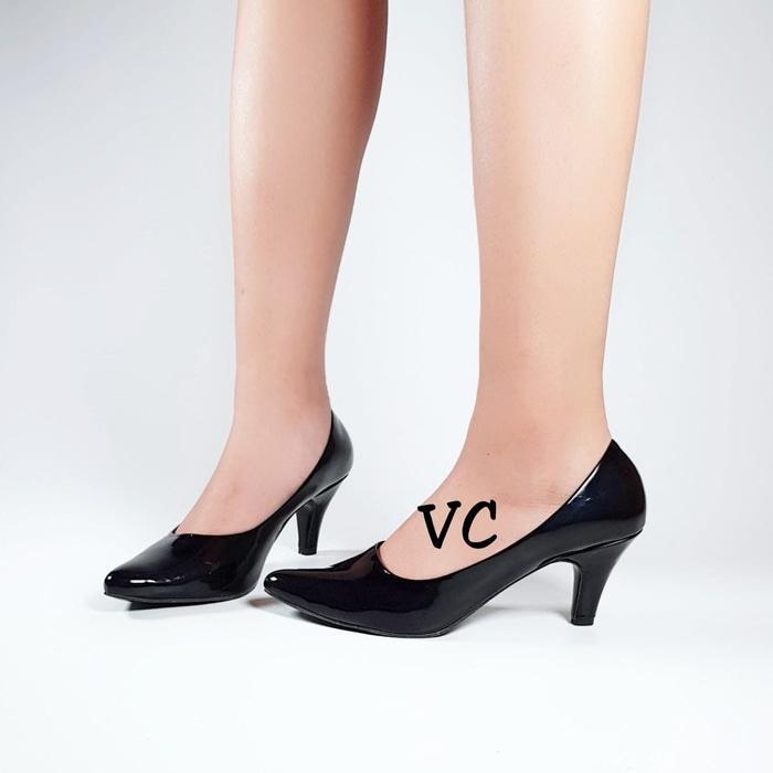 Sepatu Wanita Kerja Formal Pantopel Fantopel Pantofel Heel Hitam / high heels / sepatu murah / sepatu boots / sandal flat / sepatu sneakers / sandal keren ...