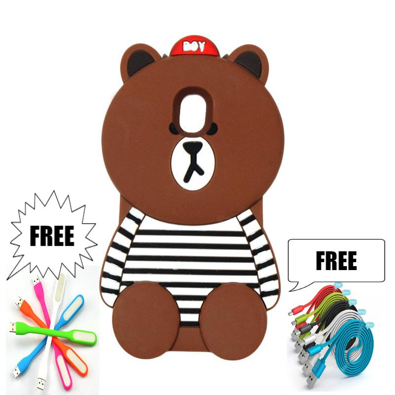 VR24-P Casing Softcase Case Silicon 3D Samsung J5 Pro Boneka Animasi Boy Bear free Cable Data Dan USB Flas Led