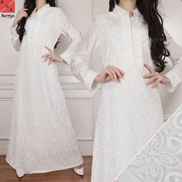 Promo Hari Ini Baju Muslim Wanita /Busana Muslim/ Baju Gamis Putih #81 JMB Untuk Lebaran