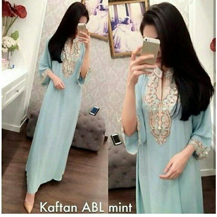 Gamis Syari Baju Muslim / Gamis Pesta / Kaftan Payet Soft Blue Termurah