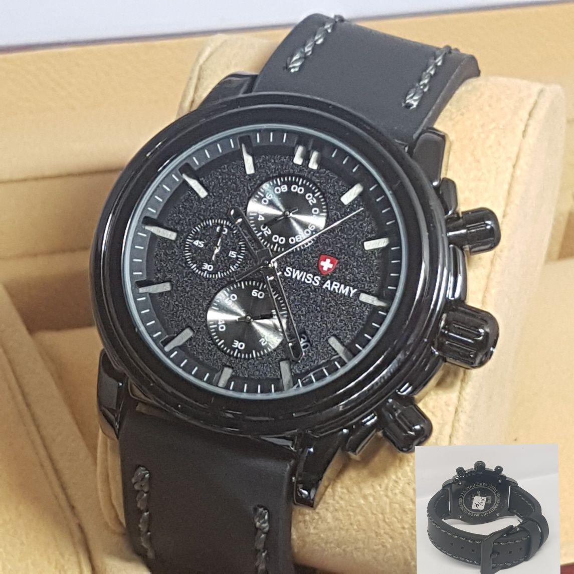 Swiss Army Fashion - Toko Grosir 1191 - Chrono aktif/Tanggal Aktif Free(Box Swiss Army Ekslusive)  - Jam tangan Pria - Tali Kulit Terbaru