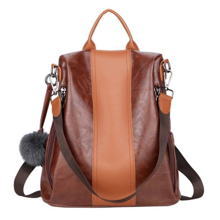 KGS Tas Ransel Backpack Wanita Impor Kerja Elegant Leather Looks - Coklat fbd0c6306e