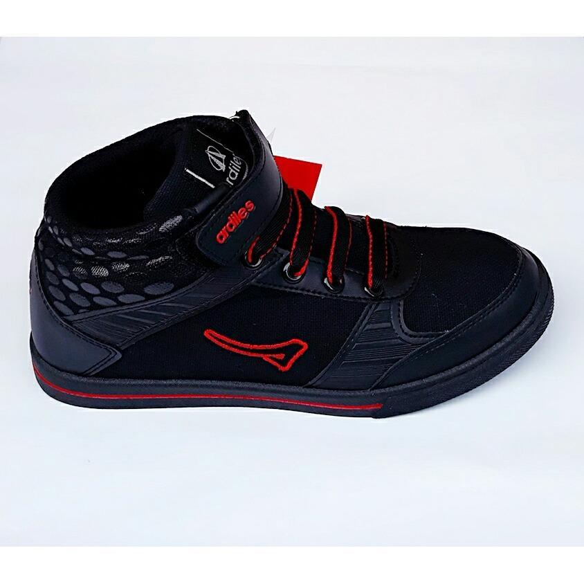 Detail Gambar Sepatu sekolah Anak pria dan wanita AM-KVS-902 hitam garis merah Terbaru