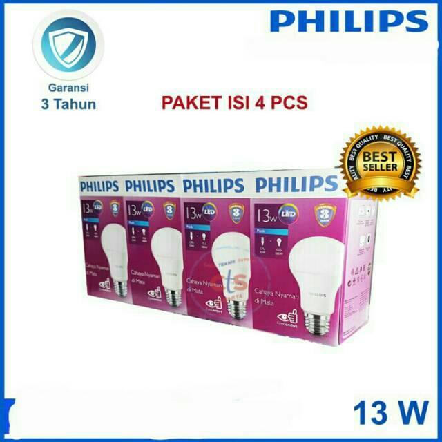 Lampu Philips Led Bulp Paket Hemat Beli 1 Dapat 4 Lampu Philips 13 Watt