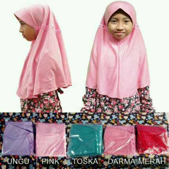 jilbab anak sekolah sd warna warni kaos