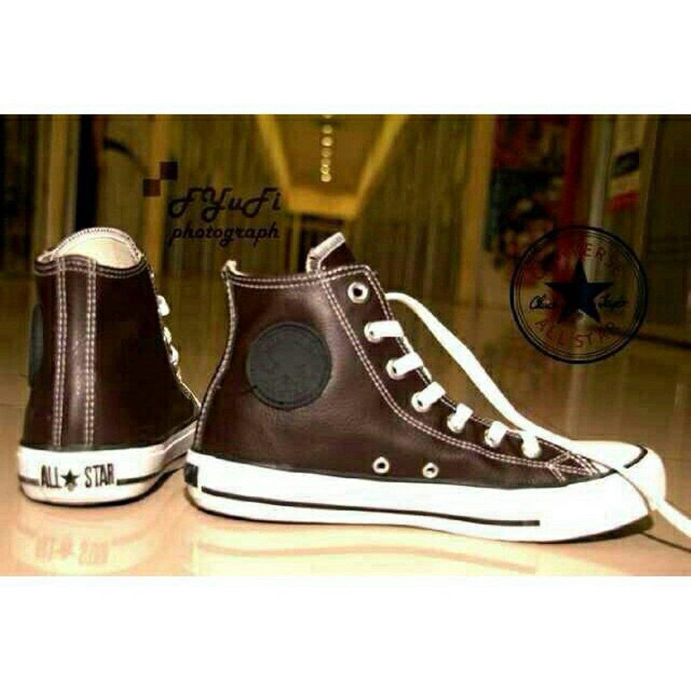 Promo Sepatu Converse All star kulit high brown cokelat tua  Fashion