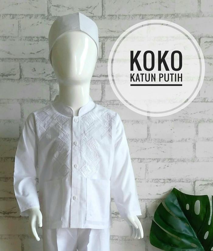 (1T) Baju Setelan Koko Putih Anak Bayi - 1 Tahun Bahan Katun Bordir Putih