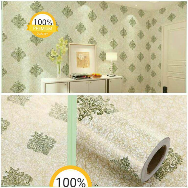 Promo murah wallpaper sticker dinding kamar batik klasik modern hijau gold cantik mewah